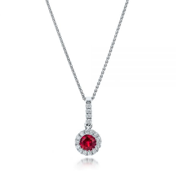 Ruby and Diamond Halo Pendant - Three-Quarter View -  100970 - Thumbnail