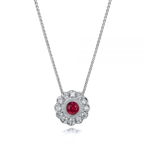 Ruby And Diamond Halo Pendant - Three-Quarter View -
