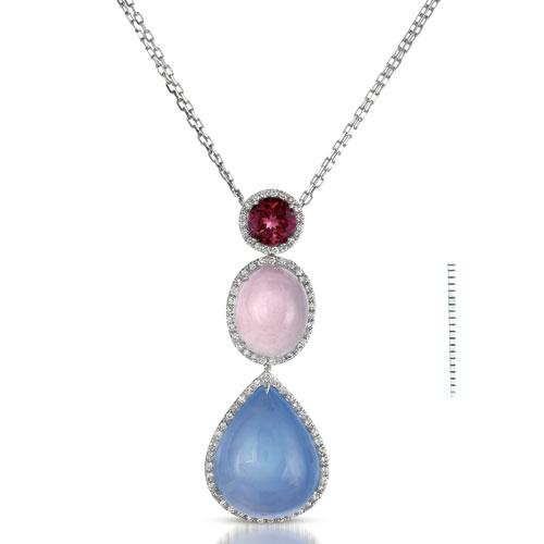Sapphire, Opal and Diamond Pendant - Vanna K - 3/4 View