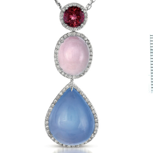 Sapphire, Opal and Diamond Pendant - Vanna K - Laying View