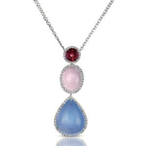 Sapphire, Opal and Diamond Pendant - Vanna K