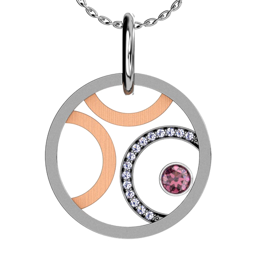 Sapphire and Diamond Rose Gold and White Gold Pendant - 3/4 View