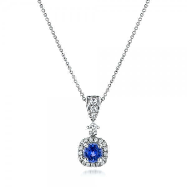 Custom Sapphire and Diamond Halo Pendant