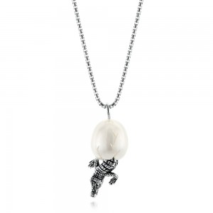 Silver Alligator Fresh Water Carved Pearl Necklace