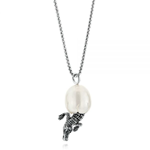 Silver Alligator Fresh Water Carved Pearl Necklace - Flat View -  103313 - Thumbnail