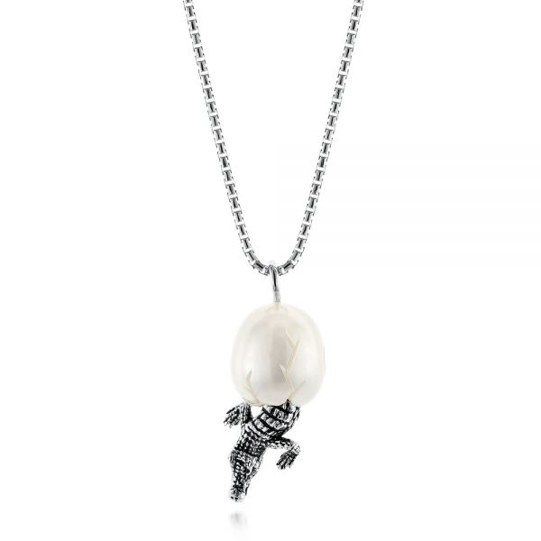 Silver Alligator Fresh Water Carved Pearl Necklace - Image