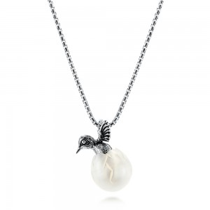 Silver Hummingbird Fresh Water Carved Pearl Necklace
