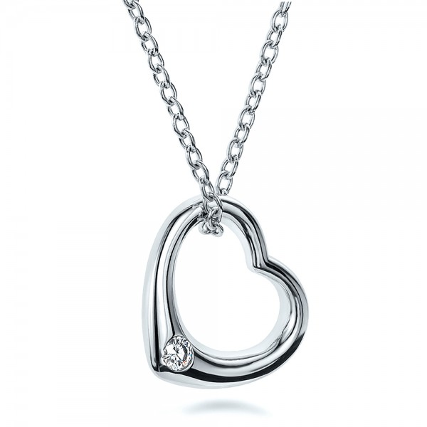 Solitaire diamond heart pendant 100650 mozeypictures Gallery