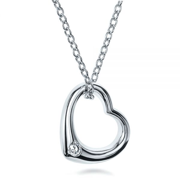 Solitaire Diamond Heart Pendant - Flat View -