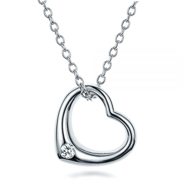 Solitaire Diamond Heart Pendant - Three-Quarter View -