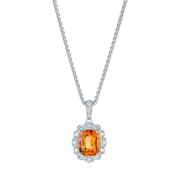 Spessartite Garnet and Diamond Pendant - Image