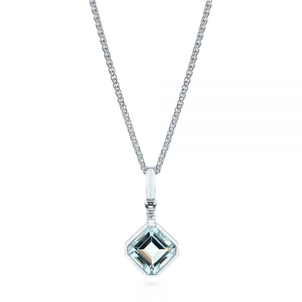 Step Cut Aquamarine and Diamond Pendant - Image