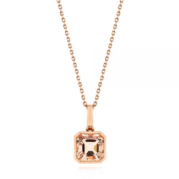 Step Cut Morganite Bezel Pendant - Image