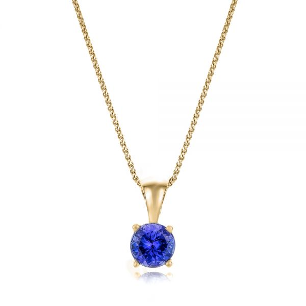 14k Yellow Gold 14k Yellow Gold Tanzanite Pendant - Three-Quarter View -  100969