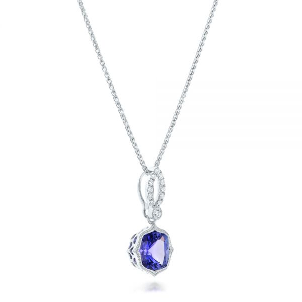 Tanzanite And Diamond Pendant - Flat View -  102545 - Thumbnail