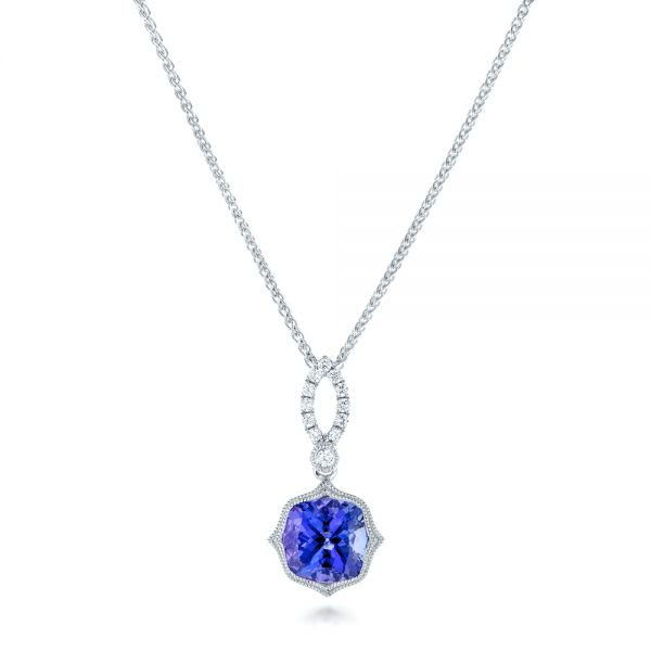Tanzanite And Diamond Pendant - Three-Quarter View -