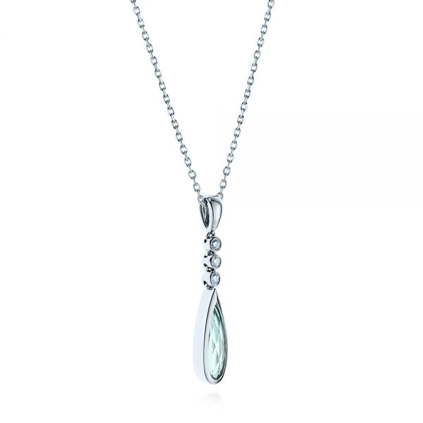 14k White Gold Teardrop Aquamarine And Diamond Pendant - Flat View -  105431 - Thumbnail
