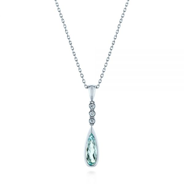 Teardrop Aquamarine and Diamond Pendant - Image