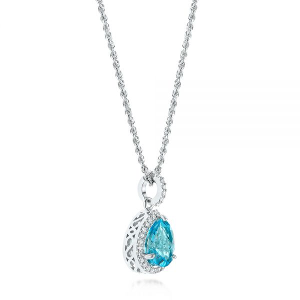 14k White Gold Teardrop Blue Topaz And Diamond Halo Pendant - Front View -