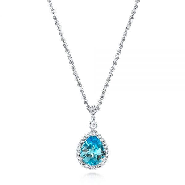 Teardrop Blue Topaz and Diamond Halo Pendant - Image