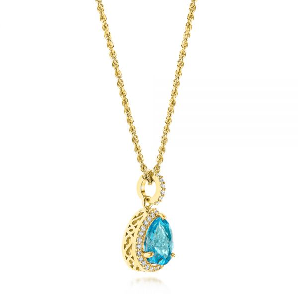18k Yellow Gold 18k Yellow Gold Teardrop Blue Topaz And Diamond Halo Pendant - Front View -  103773