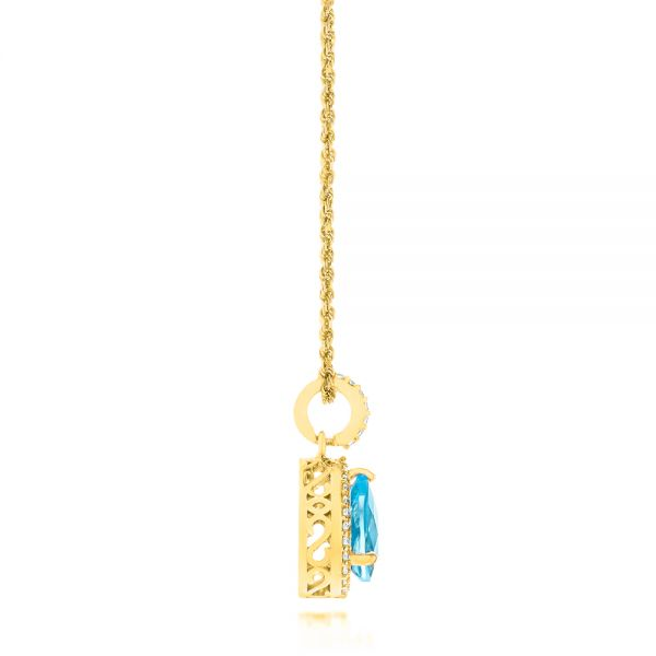 18k Yellow Gold 18k Yellow Gold Teardrop Blue Topaz And Diamond Halo Pendant - Side View -  103773