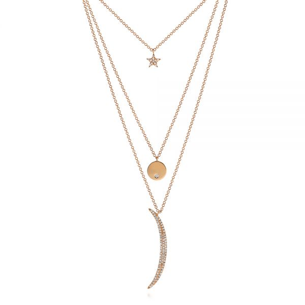 14k Rose Gold Three-stack Moon And Stars Diamond Necklace - Three-Quarter View -