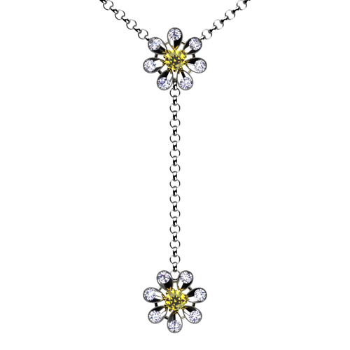 Topaz and Diamond Flower Necklace - 3/4 View