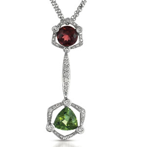 Tourmaline, Garnet and Diamond Pendant - Vanna K