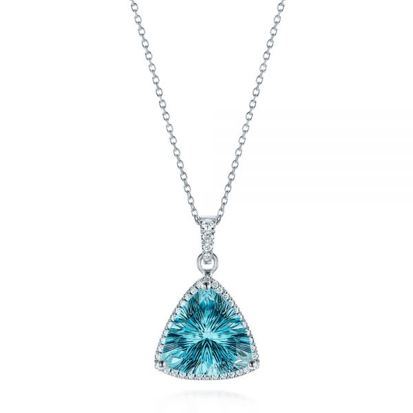 Trillion Blue Topaz and Diamond Pendant - Image