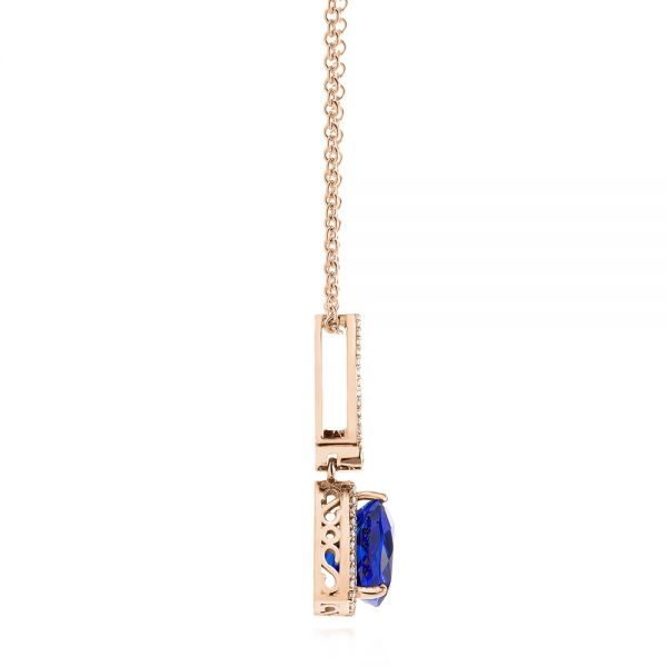 18k Rose Gold 18k Rose Gold Trillion Tanzanite And Diamond Halo Pendant - Side View -