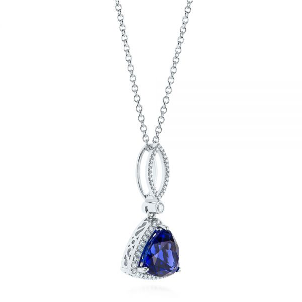 18k White Gold Trillion Tanzanite And Diamond Halo Pendant - Flat View -  105003 - Thumbnail