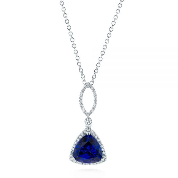 18k White Gold Trillion Tanzanite And Diamond Halo Pendant - Three-Quarter View -