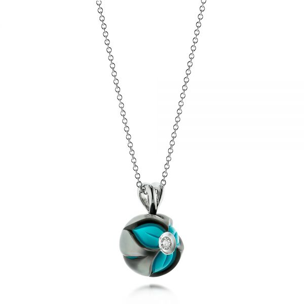 Turquoise Pearl And Diamond Pendant - Flat View -