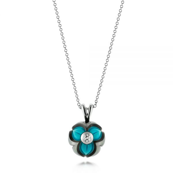Turquoise, Pearl and Diamond Pendant - Image
