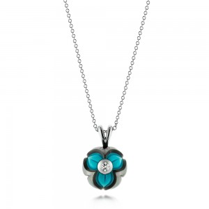 Turquoise, Pearl and Diamond Pendant