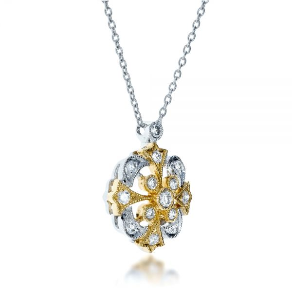 Two-tone Diamond Filigree Pendant - Flat View -