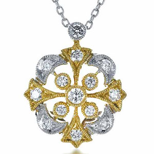 Two-Tone Diamond Filigree Pendant