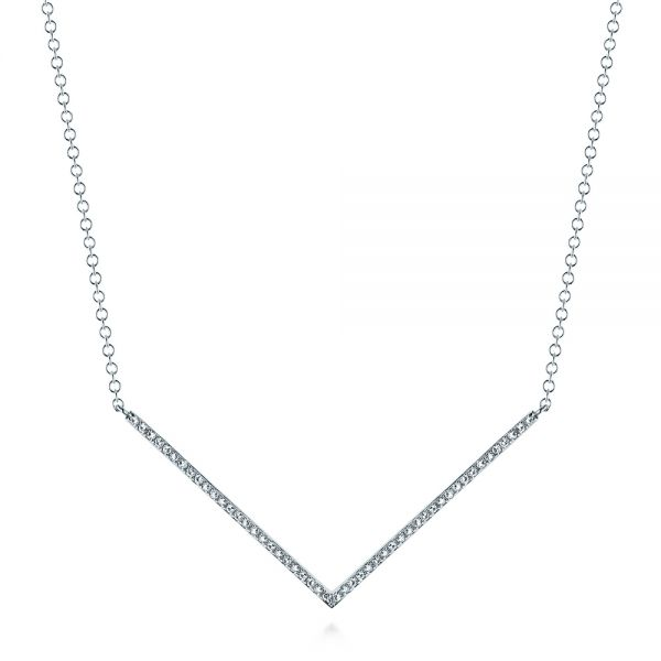 14k White Gold V-shaped Diamond Necklace - Three-Quarter View -