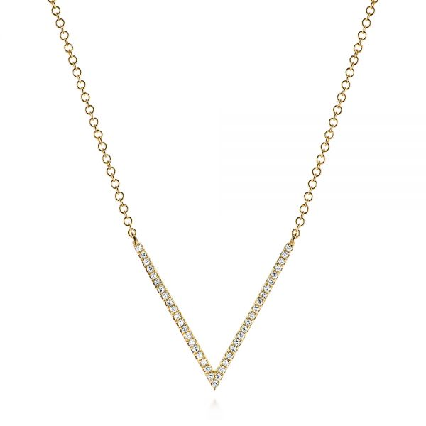 14k Yellow Gold V-shaped Diamond Necklace - Three-Quarter View -  105293