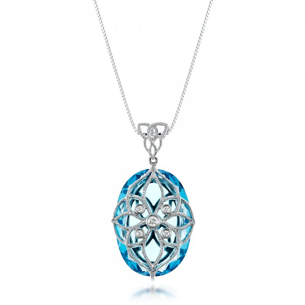 Vintage Filigree Blue Topaz and Diamond Pendant - Vanna K