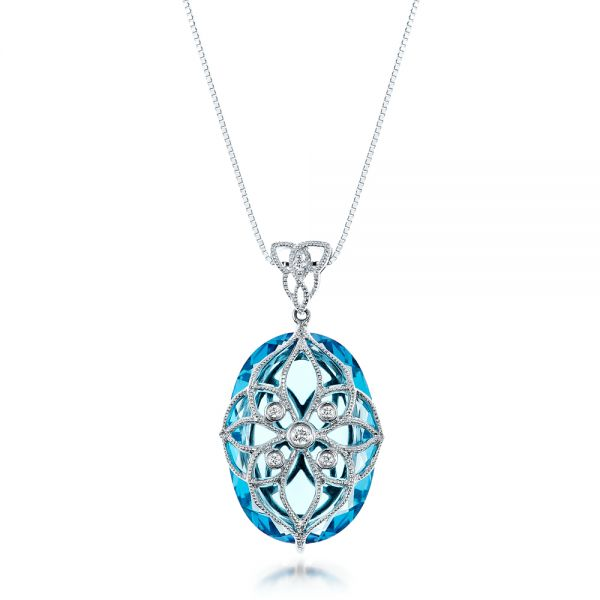 Vintage Filigree Blue Topaz and Diamond Pendant - Vanna K - Image
