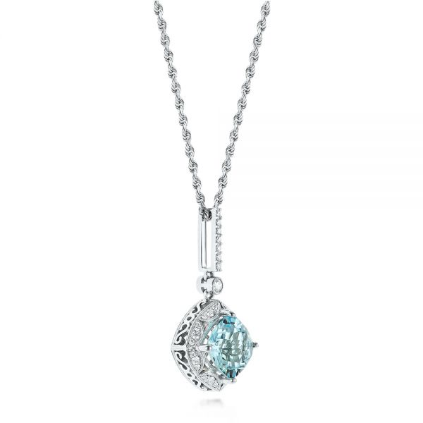 18k White Gold Vintage-inspired Aquamarine And Diamond Pendant - Front View -