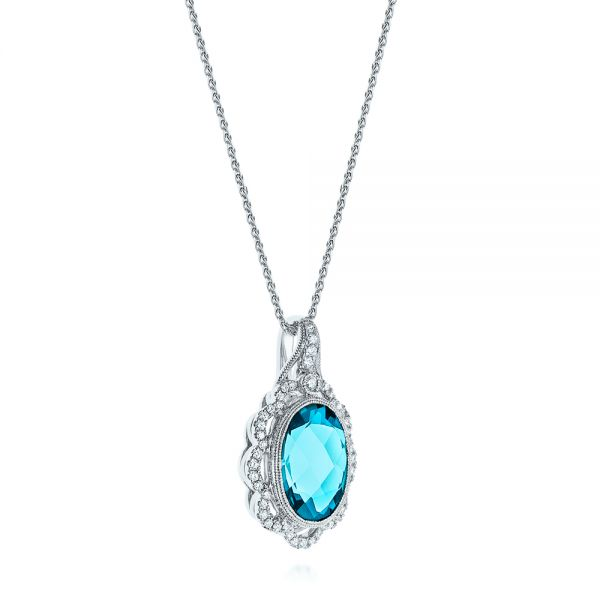 14k White Gold Vintage-inspired Blue Topaz And Diamond Pendant - Flat View -
