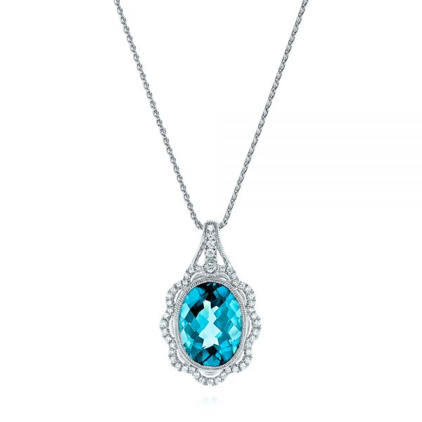 14k White Gold Vintage-inspired Blue Topaz And Diamond Pendant - Three-Quarter View -