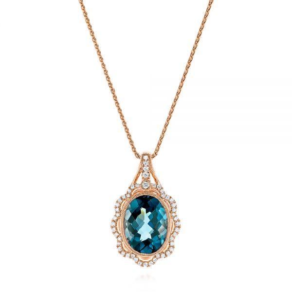 Vintage-inspired London Blue Topaz and Diamond Pendant - Image