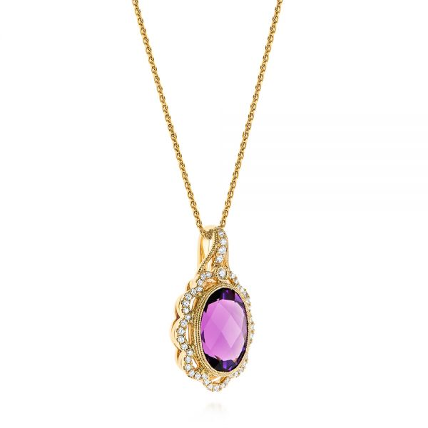 14k Yellow Gold Vintage-inspired Oval Amethyst And Diamond Pendant - Flat View -  105426 - Thumbnail