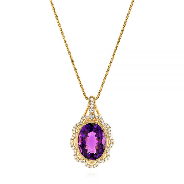 14k Yellow Gold Vintage-inspired Oval Amethyst And Diamond Pendant - Three-Quarter View -