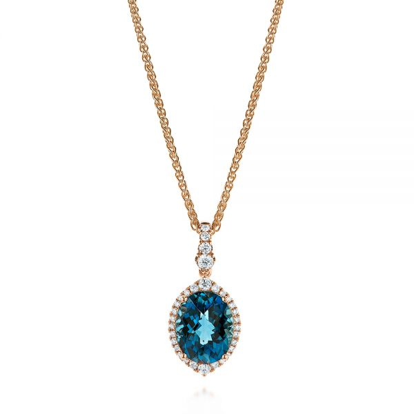 Vintage-inspired Oval London Blue Topaz and Diamond Pendant - Image