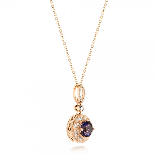 Vintage-inspired Rose Gold Diamond and Iolite Pendant - Front View -  103432 - Thumbnail